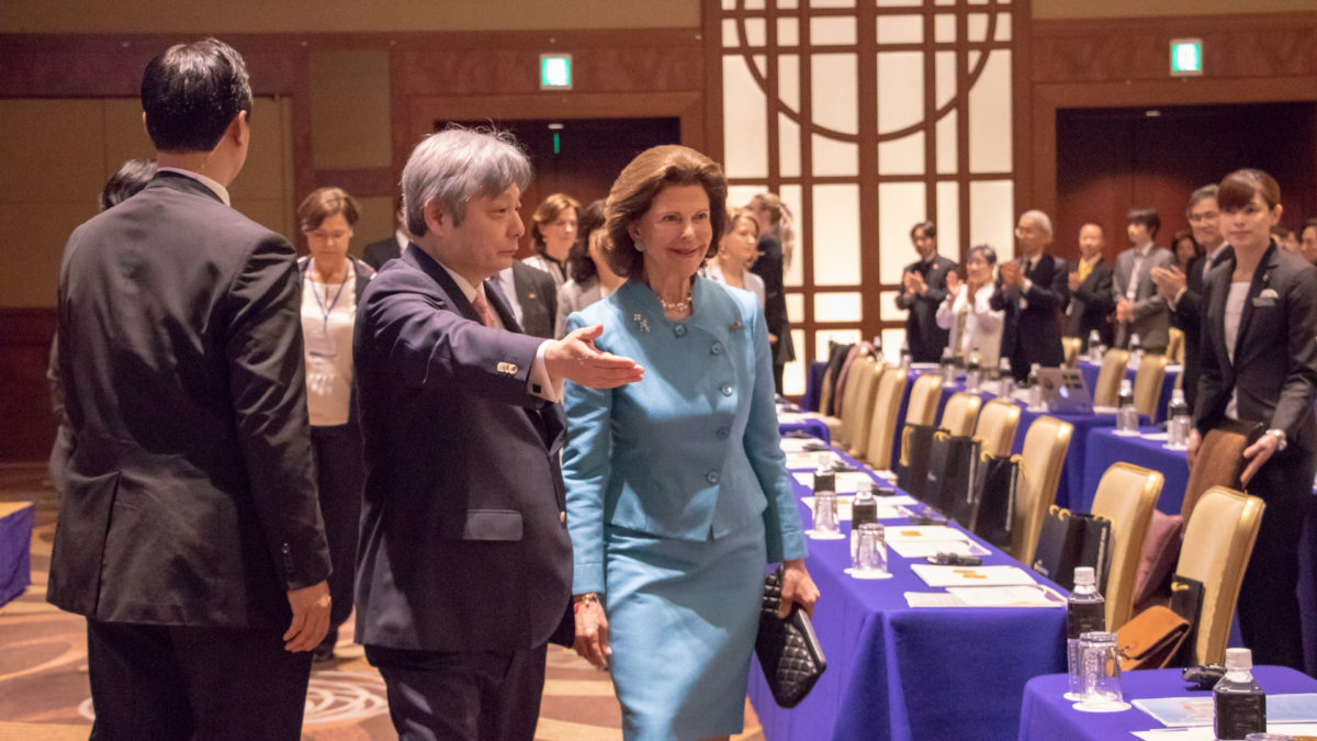 Queen Silvia at a conference