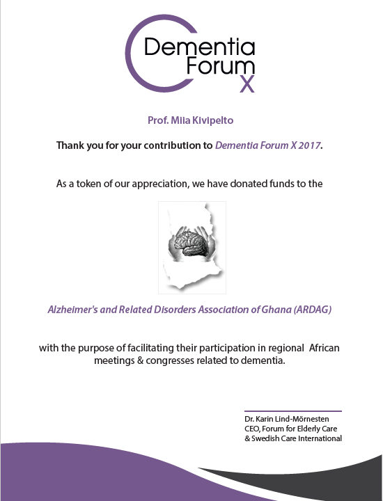Dementia Forum X thank you letter