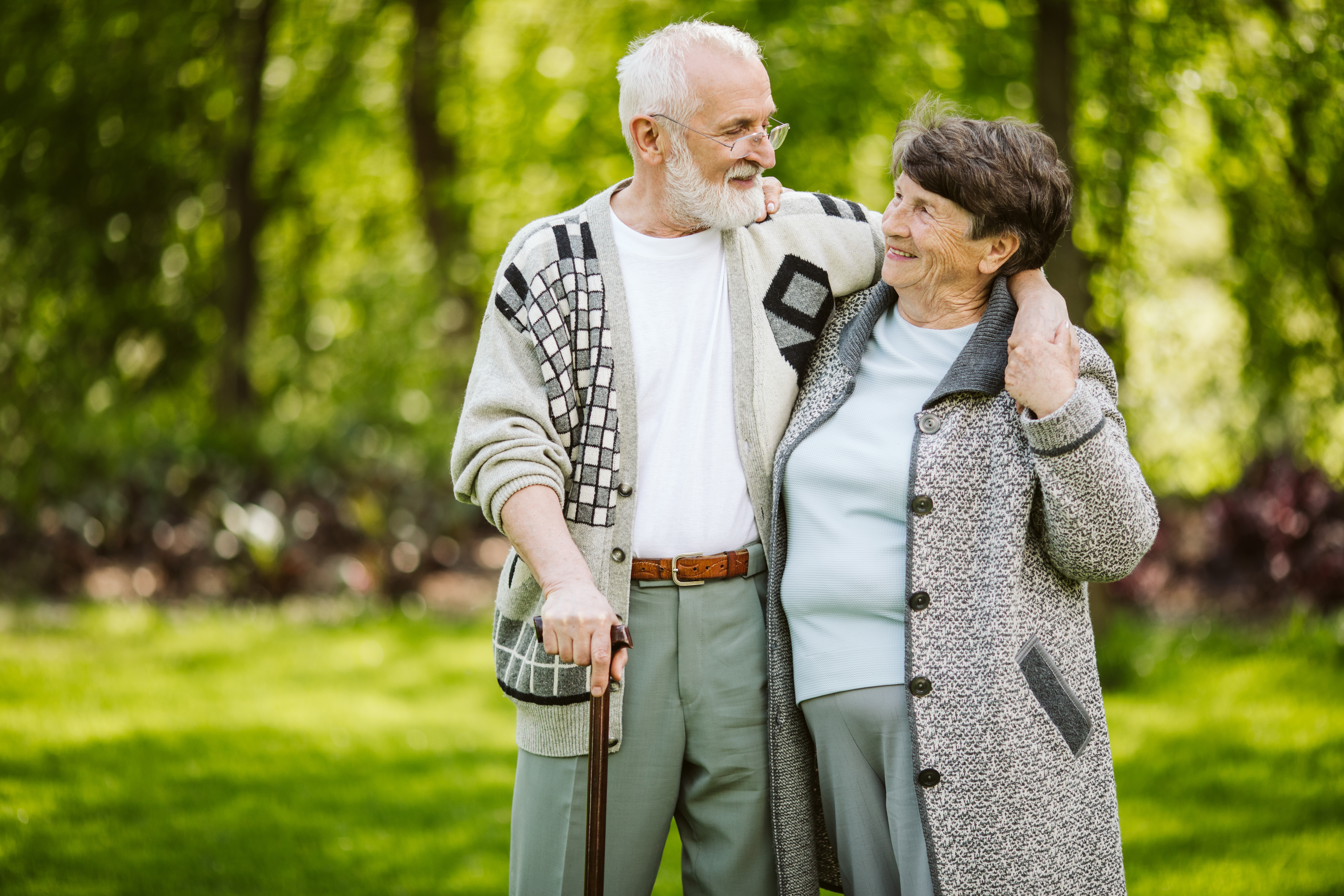 Elderly couple during a walk in the park